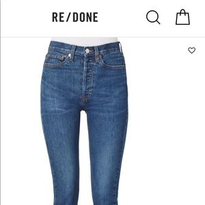 Re/done high rise ankle stretch denim